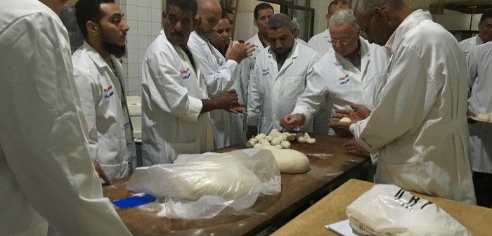 Egyptian bakers try out flour milled from UK-grown wheat at the AHDB workshop in Cairo