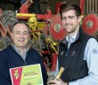 #Beet150 winner Mark Means receives his certificate and a bottle of champagne from Bayer technical manager for Norfolk Jack Hill