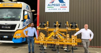Nicola Pegoraro, CEO, (left) and Vincenzo Del Ninno, Sales Director, pictured outside Alpego UK's new premises in Boston, Lincolnshire.