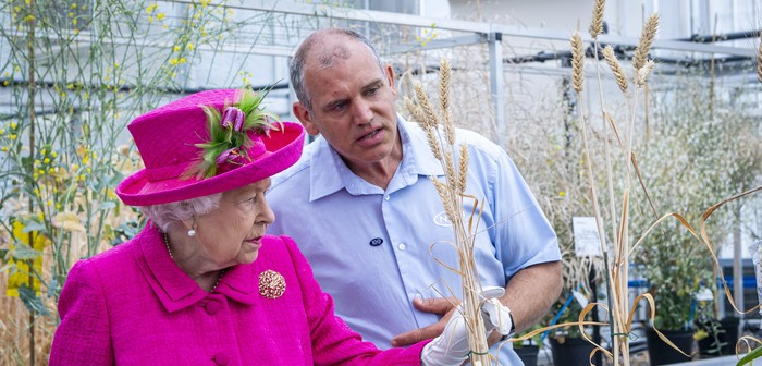 HM The Queen views NIAB's resynthesised wheat research with plant breeder Dr Phil Howell