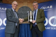 NIAB chairman Jim Godfrey presenting Elsoms' Robin Wood with the Cup
