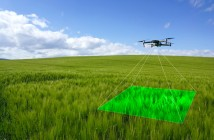 Drone photographing crop with overlay @300