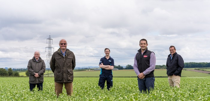 : (L-R) Steve Cann, Director, Future Food Solutions; Andrew Walker, Asset Strategy Manager, Yorkshire Water; Lee Pitcher, Head of Partnerships, Yorkshire Water; James Hopwood, Agriculture Manager UK, Birds Eye, and; Paul Rhodes, Director, Future Food Solutions