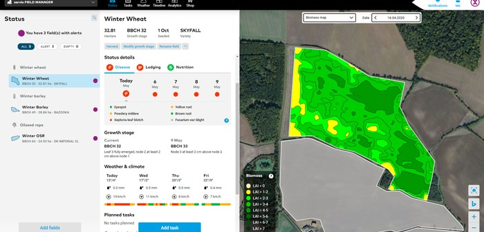 xarvio Field Manager website status page & biomass map