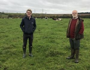 L_R Will Parker agronomist with farmer Mark Spendlove